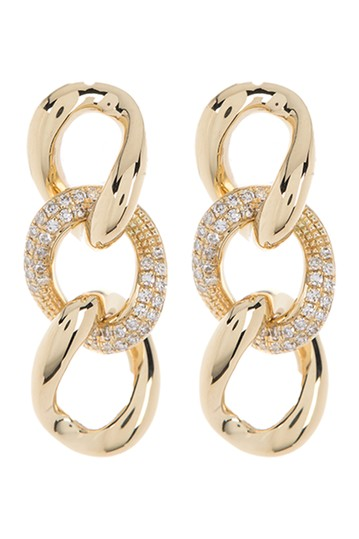 14K Yellow Gold Diamond Chain Drop Earrings - 0.085 ctw Ron Hami