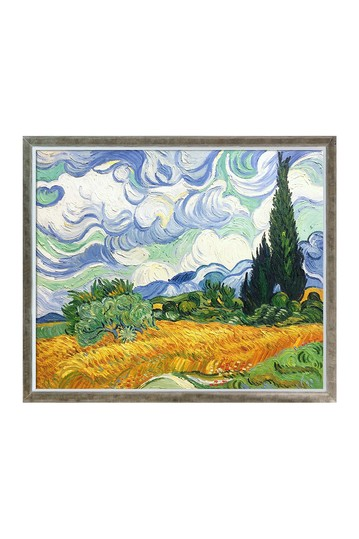 """Wheat Field with Cypresses with Champagne Silhouette Frame , 22.4"""" x 26.4"""" No brands"""