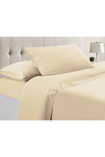 Manor Ridge Luxury 100 GSM Brushed Microfiber Extra Soft Hypoallergenic 4-Piece Double Marrow Hem Sheet Set, Ivory - Full Modern Threads