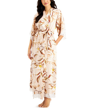 INC Lace-Trim Floral-Print Long Wrap Robe, Created for Macy's INC International Concepts
