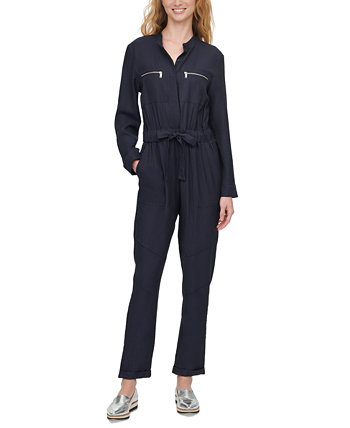 Belted Long-Sleeve Jumpsuit DKNY