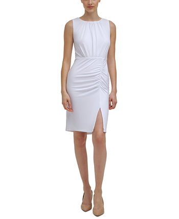 Petite Solid Ruched Dress Calvin Klein
