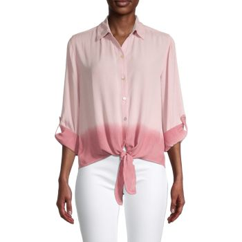 Yumi Ombré Self-Tie Shirt Beach Lunch Lounge