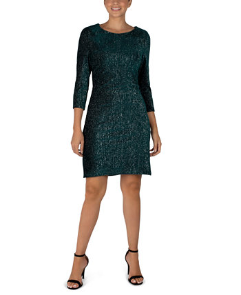 3/4-Sleeve Shiny Textured Velvet Sheath Dress Julia Jordan