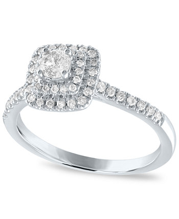 IGI Certified Diamond Double Halo Engagement Ring (1/2 ct. t.w.) in White Gold Macy's