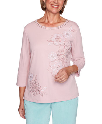 Petite St. Moritz Monotone Embroidered Flowers Top Alfred Dunner