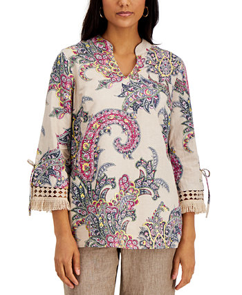 Printed Fringe-Cuff Top, Created for Macy's Charter Club