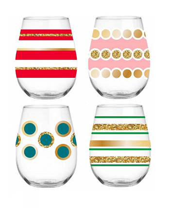 Whimsical Stemless Everyday Glassware, Set of 4 Qualia Glass