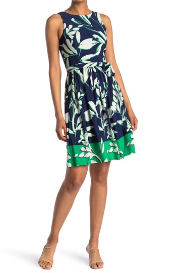 Sleeveless Printed Fit and Flare Dress Eliza J