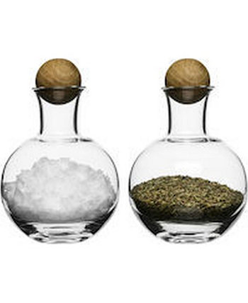 Nature Spice and Herb Storage with Wood Stoppers, Set of 2 Widgeteer