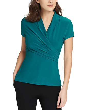 Ruched Surplice Top DKNY