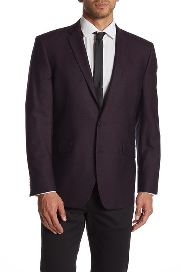 Burgundy Shimmer Two Button Notch Lapel Performance Stretch Slim Fit Sport Coat Kenneth Cole Reaction