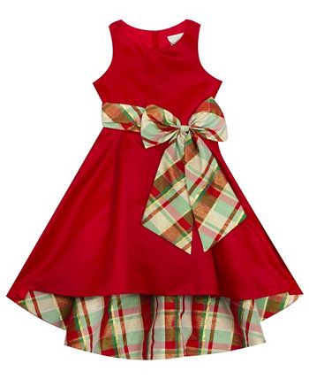 Toddler Girl Solid Hi-Low Dress With Plaid Bow And Lining Rare Editions