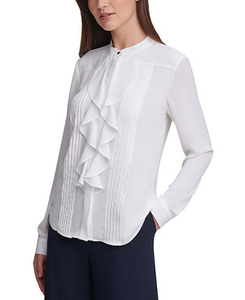 Pleated Ruffled Blouse Calvin Klein