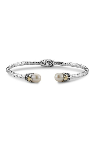 Sterling Silver & 18K Yellow Gold Freshwater Pearl Bangle Bracelet Samuel B Jewelry