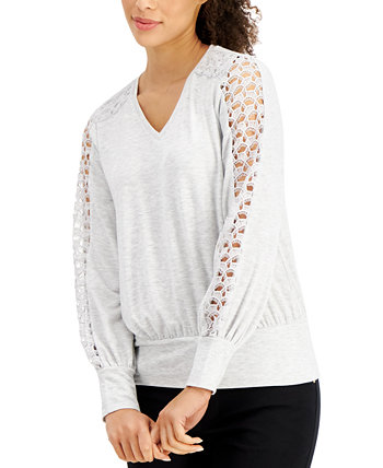 Lace-Sleeve Top, Created for Macy's J&M Collection