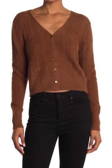 Fuzzy Pointelle V Neck Cardigan Double Zero