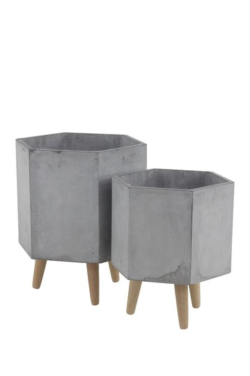 Light Gray/Beige Farmhouse Hexagon Planter - Set of 2 Willow Row
