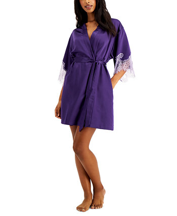 INC Lace-Trim Satin Wrap Robe, Created for Macy's INC International Concepts