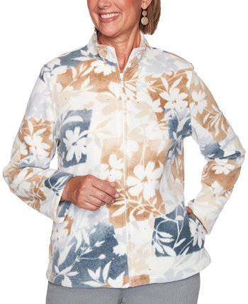 Petite Glacier Lake Floral-Patchwork Polar Fleece Jacket Alfred Dunner