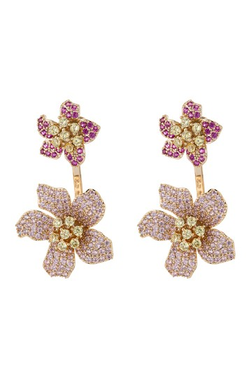 18K Gold Plated Pink Rose CZ Crystal Earrings Eye Candy Los Angeles