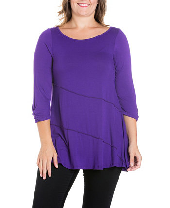 Women's Plus Size Ruched Sleeves Swing Tunic Top 24seven Comfort Apparel