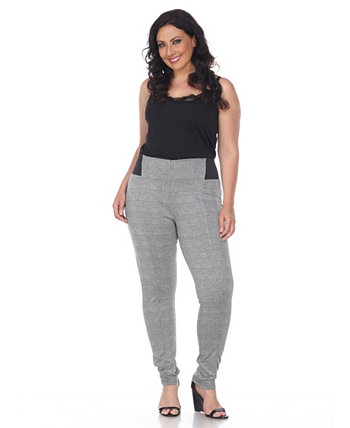 Plus Size Jacquard Slim Pants White Mark