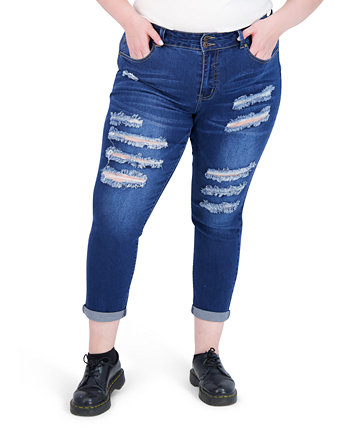Trendy Plus Size Two-Button Distressed Skinny Jeans Gogo Jeans