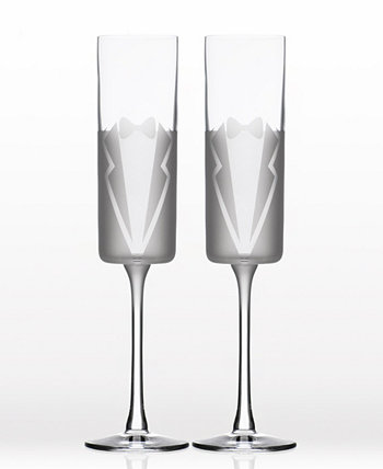 Wedding Cheers Series 1 (Tux/Tux) Flute 5.75Oz - Gift Box Set Of 2 Rolf Glass