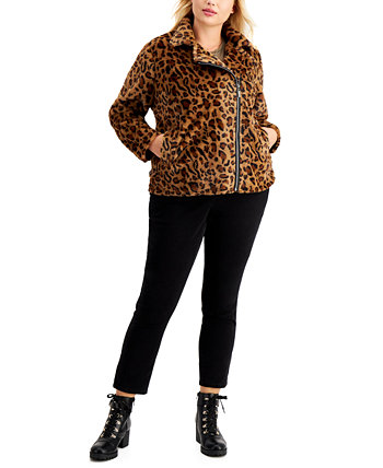 Juniors' Trendy Plus Size Faux-Fur Leopard Moto Jacket Jou Jou