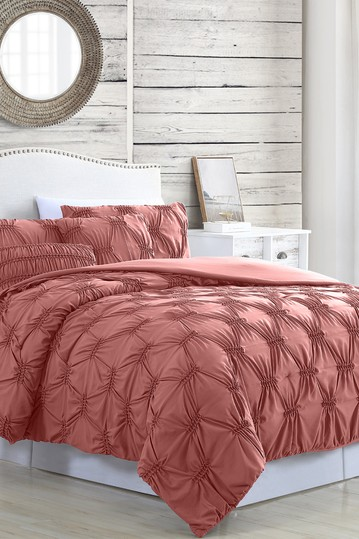 Modern Threads 5-Piece Solid Textured Comforter Set - Alanis Rosewood - Queen Modern Threads