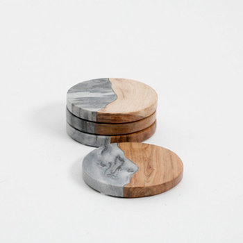 Gray Marble & Wood Coaster Set Laurie Gates