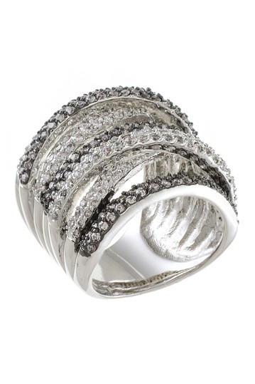 Two-Tone Multi-Band CZ Pave Ring CZ By Kenneth Jay Lane