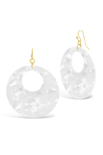 14K Gold White Resin Hoop Drop Earrings Sterling Forever