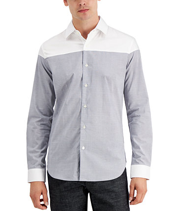 Men's Cut and Sew Micro Plaid Shirt, Created for Macy's DKNY