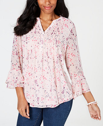 Printed Pintuck Top, Created for Macy's Charter Club
