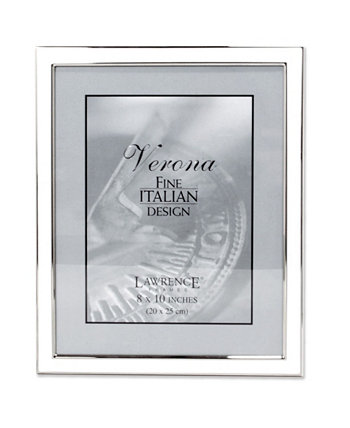 """Silver Plated Metal with White Enamel Picture Frame - 8"""" x 10"""" Lawrence Frames"""