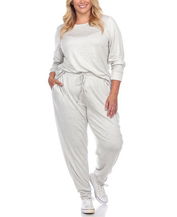 Women's Plus Size Lounge Set, 2 Piece White Mark