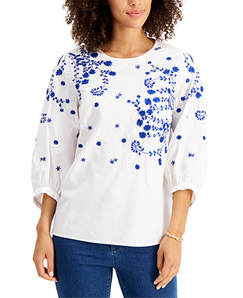Cotton Embroidered Top, Created for Macy's Charter Club
