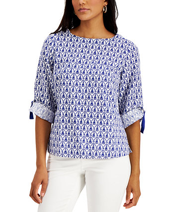 Printed Roll-Cuff Top, Created for Macy's Charter Club