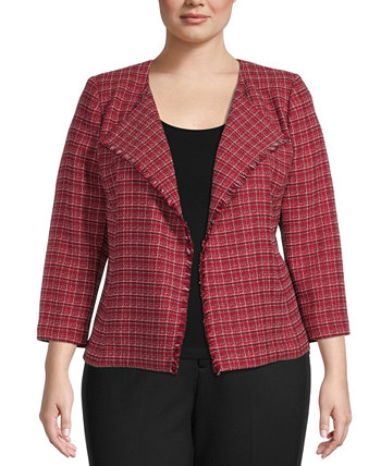 Plus-Size Tweed Open-Front Jacket Kasper
