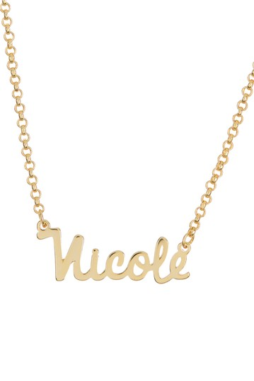 18K Yellow Gold Plated Sterling Silver 'Nicole' Name Pendant Necklace Argento Vivo
