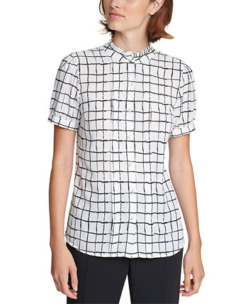 Windowpane Faux-Pearl Blouse Karl Lagerfeld Paris