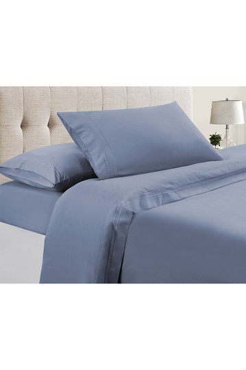 Manor Ridge Luxury 100 GSM Brushed Microfiber Extra Soft Hypoallergenic 3-Piece Double Marrow Hem Sheet Set, Denim Blue - Twin Modern Threads