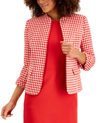 Tweed Houndstooth Open-Front Jacket Anne Klein