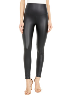 Signature Waistband Faux Leather Leggings with Zipper Yummie