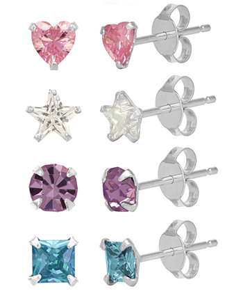 Children's  Colored Cubic Zirconia Shapes Stud Earrings - Set of 4  in Sterling Silver Rhona Sutton