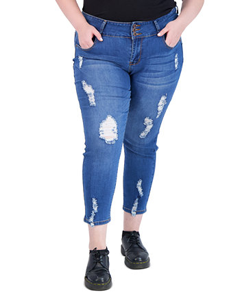 Trendy Plus Size Three-Button Distressed Skinny Jeans Gogo Jeans