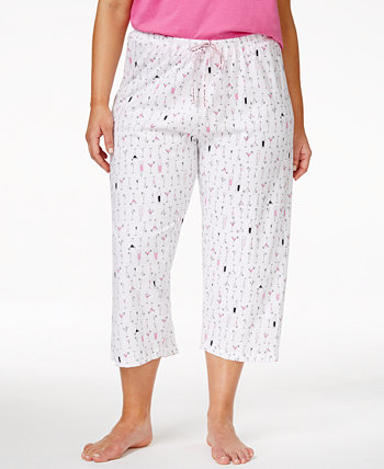 Plus Size Cocktails Print Capri Pajama Pants HUE