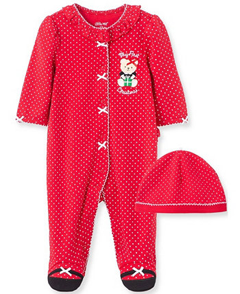 Little  Me Baby Girl Holiday Bear Footie and Hat Little Me